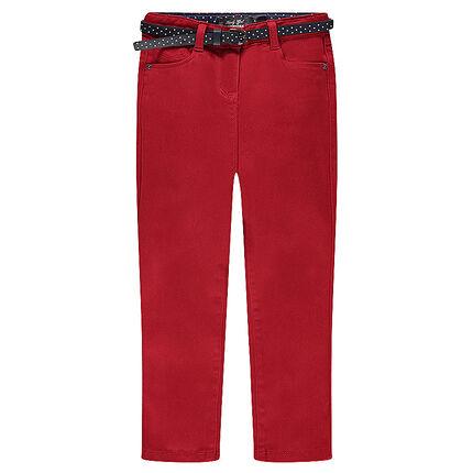Pantalon slim uni taille haute à ceinture amovible