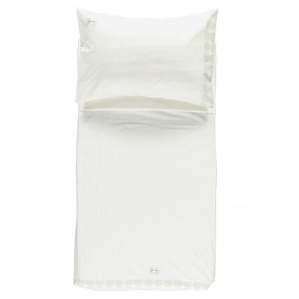 Parure drap plat à motif placé + taie d'oreiller - 160 x 110 cm
