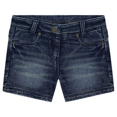 Short en denim like effet used et crinkle