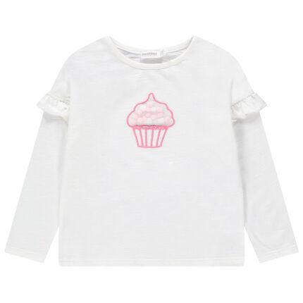 T-shirt manches longues volantées avec cupcake en tulle