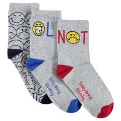Lot de 3 paires de chaussettes avec motif Smiley en jacquard