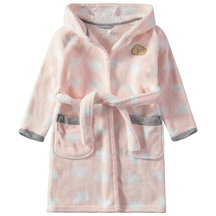 Robe de chambre à capuche en sherpa à nuages all-over