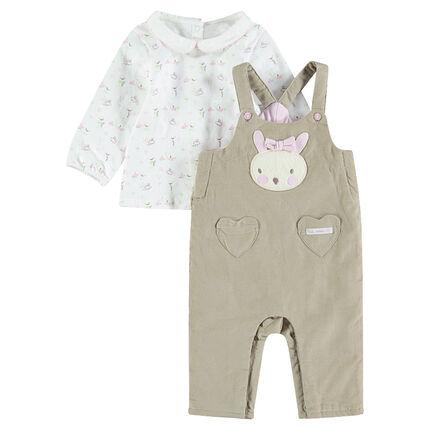Ensemble salopette en velours côtelé avec tee-shirt imprimé lapins