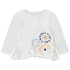 Pull en tricot à fleurs brodées et découpes biseautées