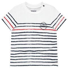 Tee-shirt manches courtes en jersey avec rayures contrastées