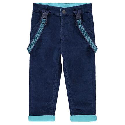 Pantalon en velours doublé jersey avec bretelles élastiquées rayées