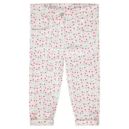 Pantalon en coton avec cerises imprimées all-over