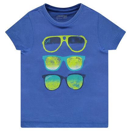 Tee-shirt manches courtes avec lunettes printées