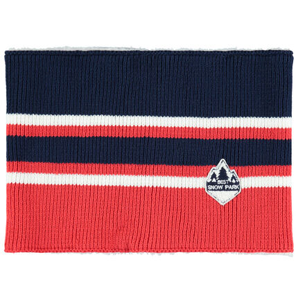 Junior - Snood en tricot rayé doublé sherpa avec badge