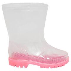 Bottes de pluie transparentes avec semelle rose du 24 au 29