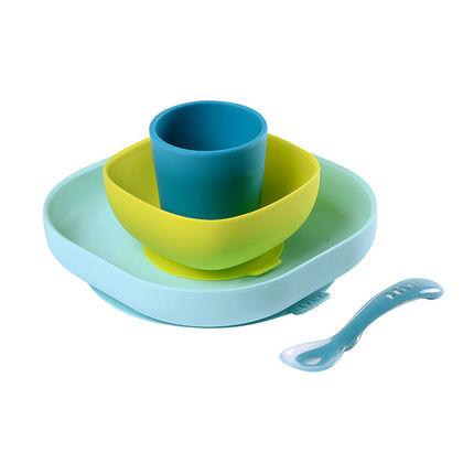 Set de vaisselle en silicone 4 pièces – Bleu