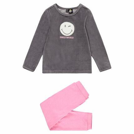 Pyjama en velours bicolore avec patch Smiley