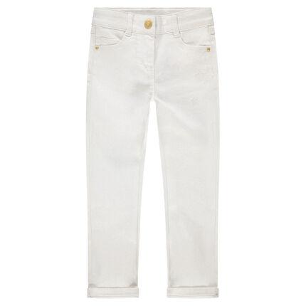 Pantalon en twill avec enduction pailletée et étoiles brodées