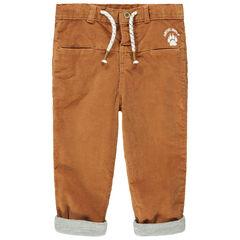 Pantalon en velours ras camel doublé jersey