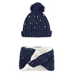 0d4f9035e5d6 Junior - Ensemble bonnet et snood en tricot doublés sherpa avec perles  fantaisie