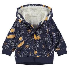 Veste en molleton à capuche printée all-over avec doublure sherpa