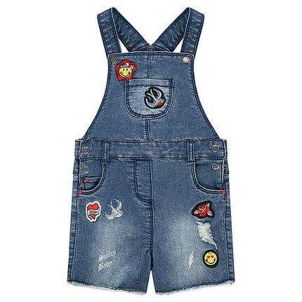 Salopette short en jeans used avec badges patchés ©Smiley