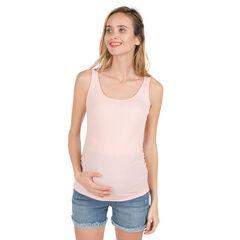 Débardeur de grossesse côtelé avec dos fantaisie