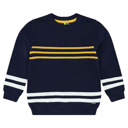 Pull en tricot ottoman avec bandes contrastées