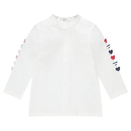 Tee-shirt manches longues en jersey avec coeurs en relief sur les manches