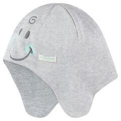Bonnet en tricot doublé jersey avec détails brodés ©Smiley Baby