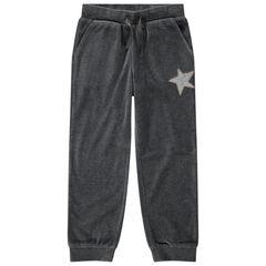Junior - Pantalon de jogging en velours uni avec étoile en sequins