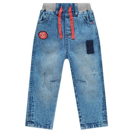 Jeans souple en denim léger avec taille élastiquée
