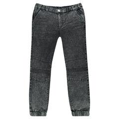 Junior - Jeans effet neige à taille et chevilles élastiquées