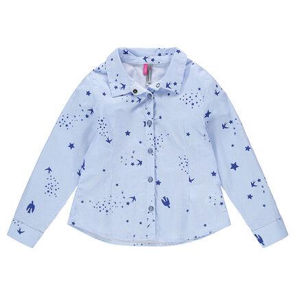 Chemise manches longues à fines rayures et motifs printés