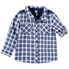 Chemise à carreaux à poches et empiècement en jean