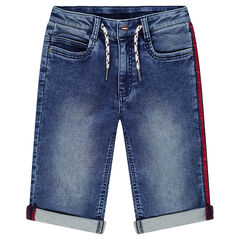 Junior - Bermuda en jeans effet used avec bande contrastée et cordons