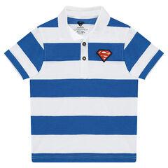 Polo manches courtes avec bandes contrastées et logo ©Warner Superman patché