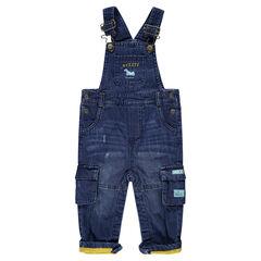 Salopette en jeans effet used doublée jersey avec poches