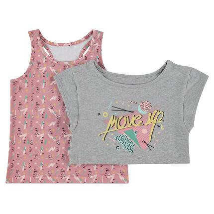 Tee-shirt manches courtes court 2 en 1 avec débardeur imprimé