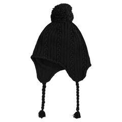 Bonnet péruvien en tricot doublé polaire avec pompon