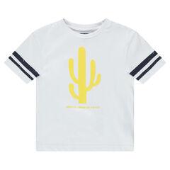Tee-shirt manches courtes avec bandes et cactus printés