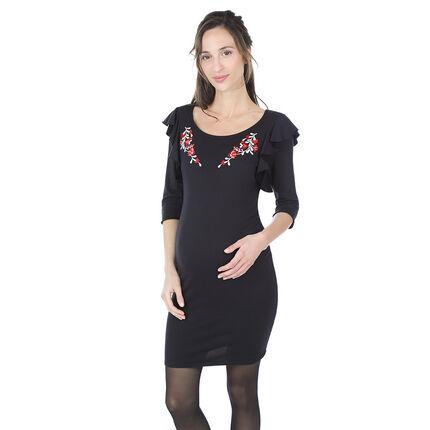 Robe de grossesse manches 3/4 volantées avec fleurs brodées