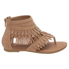 Nu-pieds effet daim camel à franges
