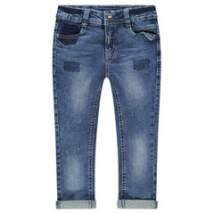 Jeans slim effet used et crinkle avec usures et poches fantaisie
