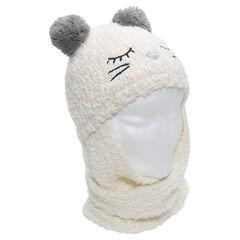 Bonnet écharpe en tricot avec oreilles forme pompons