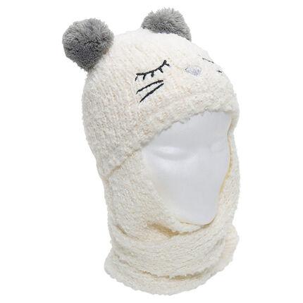 841d8d569ff5 Bonnet écharpe en tricot avec oreilles forme pompons - Orchestra FR
