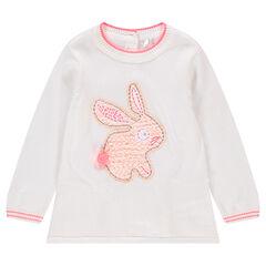 Pull en tricot avec lapin brodé et empiècements en dentelle