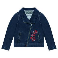 Perfecto en molleton effet jeans avec fleurs brodées
