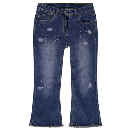 Junior - Pantacourt en jeans effet used