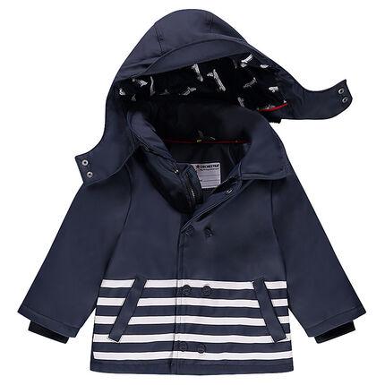 Parka ouatinée en gomme doublée jersey à capuche amovible