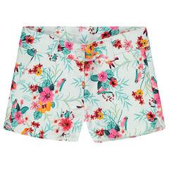 Short en coton natté avec fleurs imprimées esprit tropical