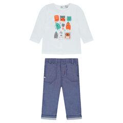Ensemble tee-shirt manches longues printé et pantalon en chambray