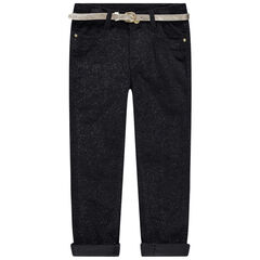 Pantalon en velours pailleté avec ceinture dorée