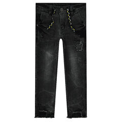 Jeans effet used coupe slim avec patchs