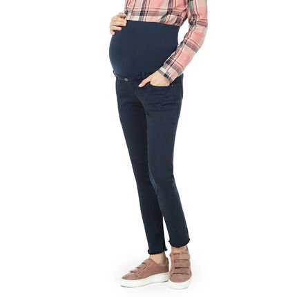 Pantalon de grossesse uni avec bandeau haut et finition frangée